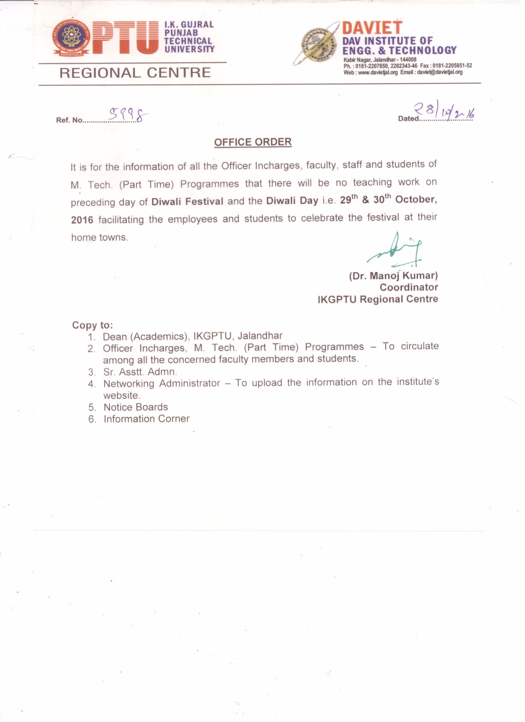 OFFICE ORDER FOR DIWALI HOLIDAY - DAVIET College