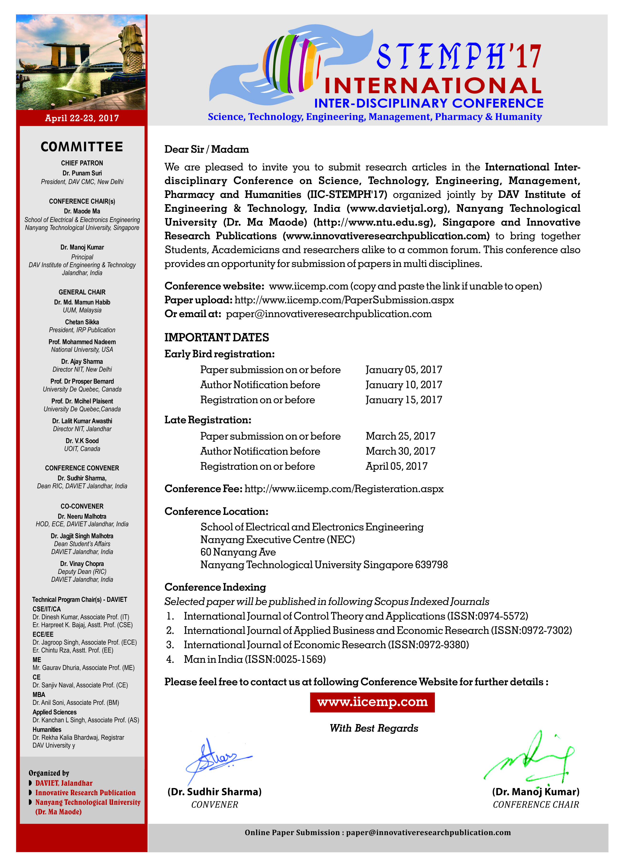 IICSTEMPH 2k17 Invitation Letter DAVIET College