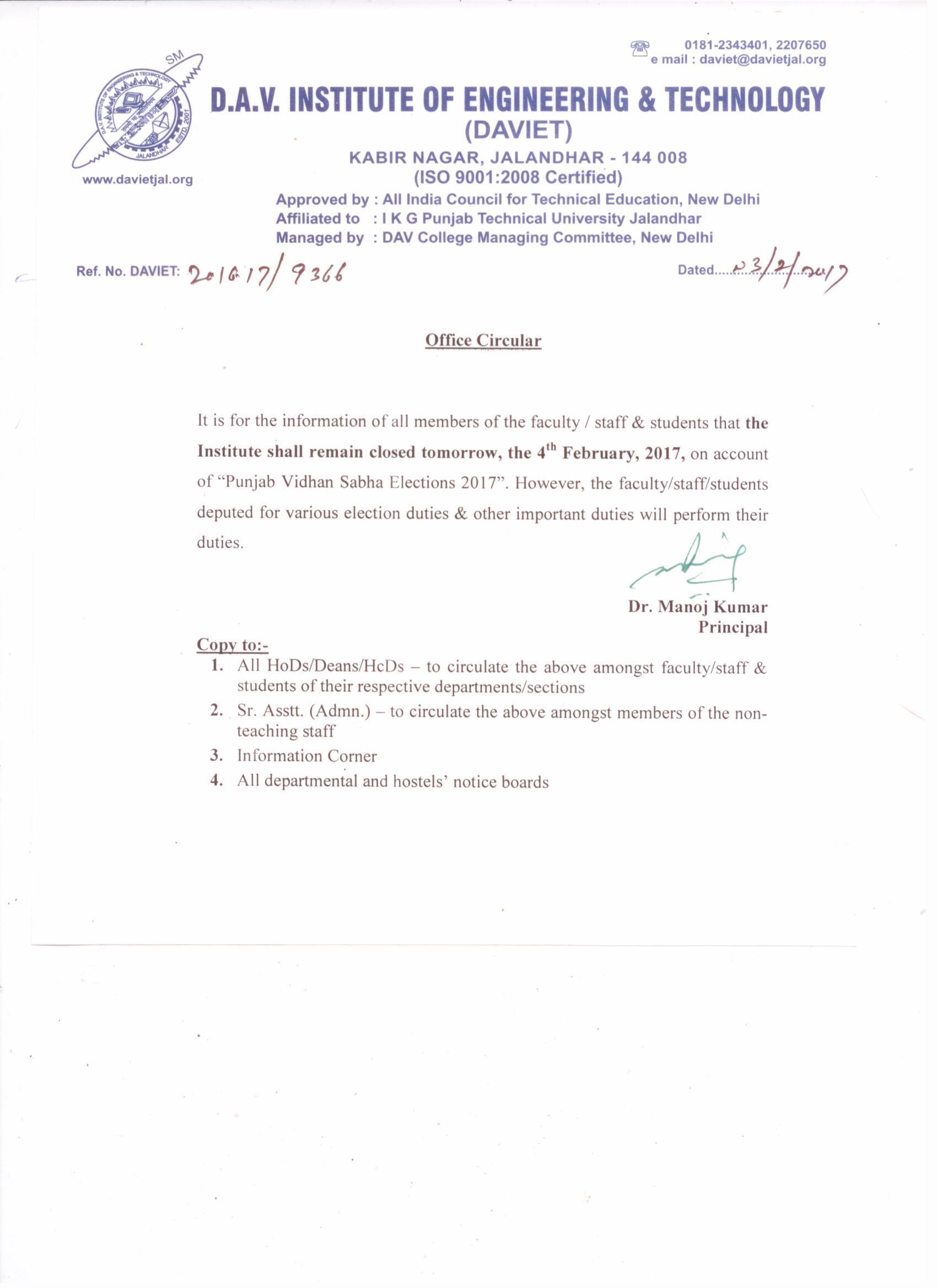 Vidhan Sabha Elections 2017 Daviet College