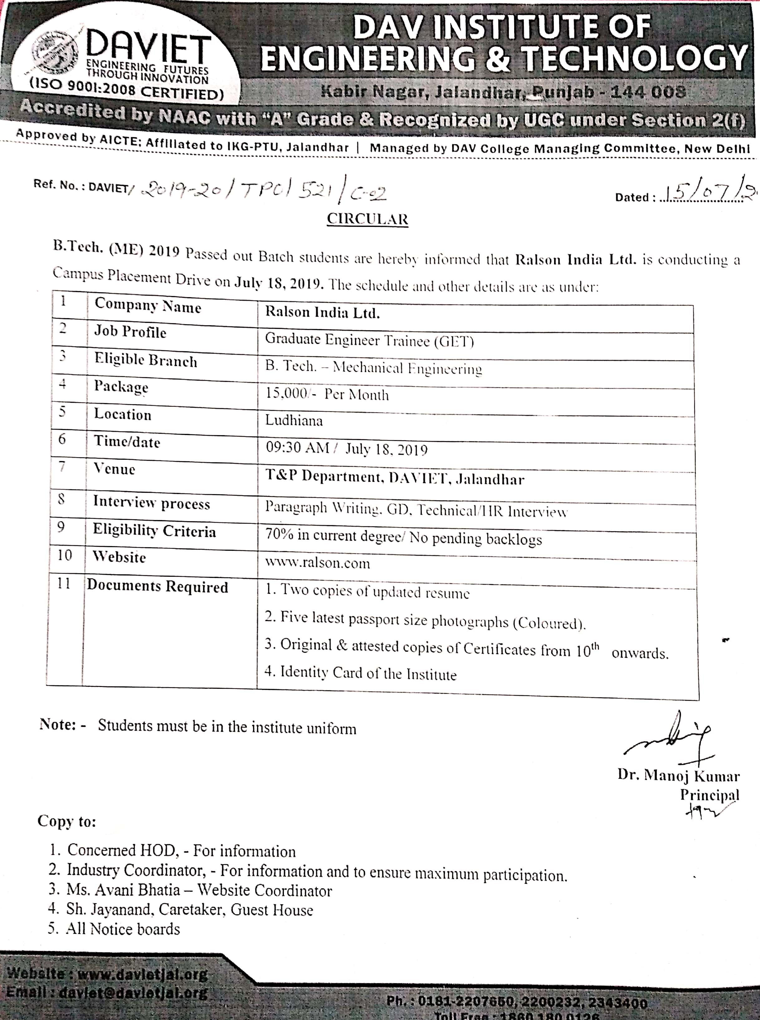 Office Circular for Placement Drive by Ralson India Ltd on 18-07